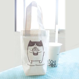 Chubby cat love Jane milk canvas beverage bag