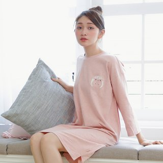 Organic cotton home seven-point sleeve dress (flower hedgehog) twist powder