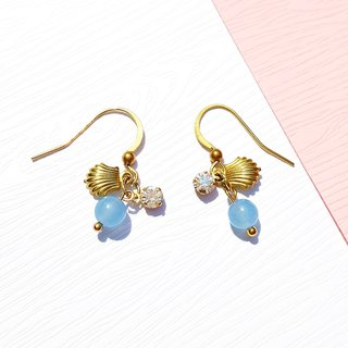 Summer Xinghai Party - Ocean Star Blue Jade with Brass Earrings Minimalist Geometric Tanabata Customization