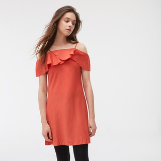 Copper Ammonia Silk Slim Shoulder Dress - Orange