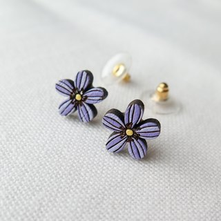 Wooden Earring African Violet