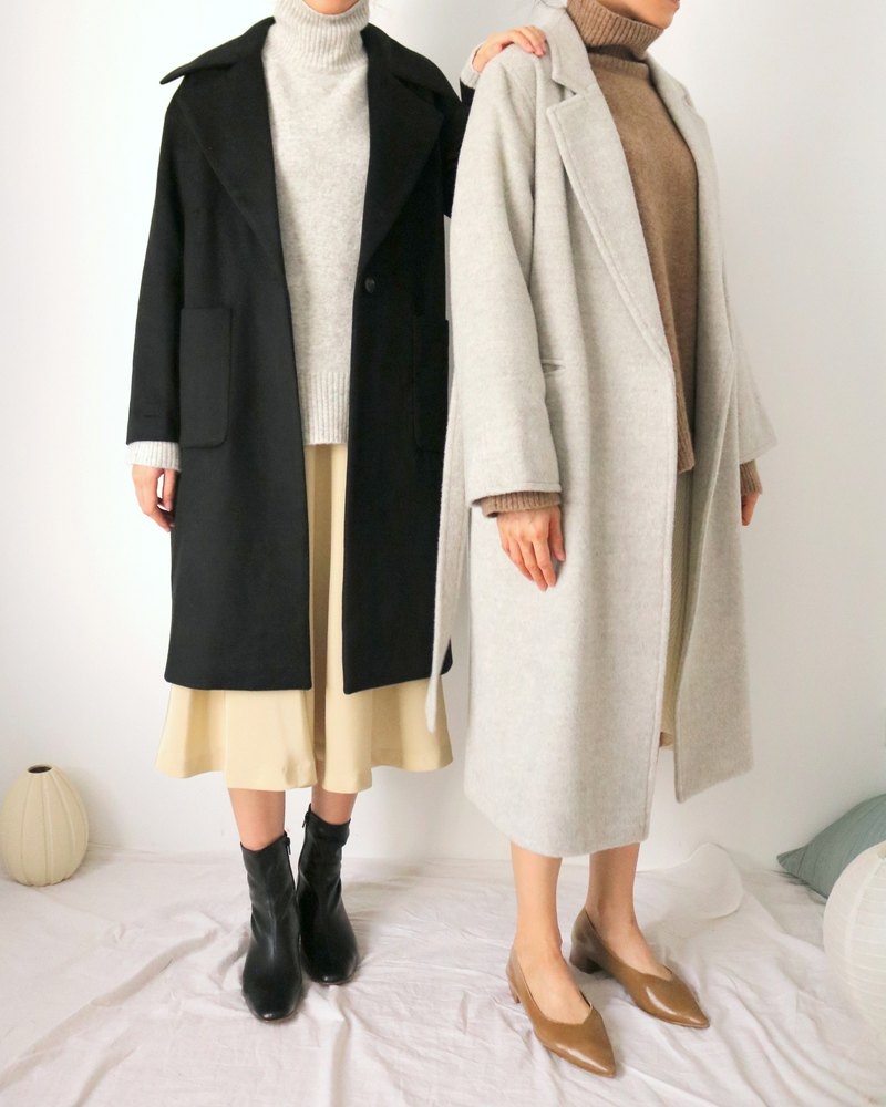 Taizo Coat black classic lapel Kashmir wool coat (can be customized in other colors)