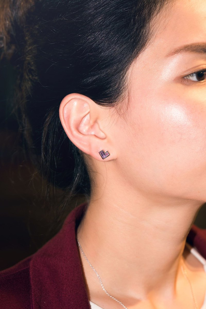 Urban Zigzag Heart Earring with Amethyst and Rhodolite