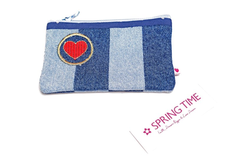 Heart Desire Denim Coin Pouch