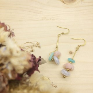 Lao Lin groceries Travelin-Summer Tail - Hand made of brass natural stone earrings - Tianhe Stone / Pink Opal / blue onyx lugs l ear acupuncture l ear clip