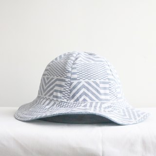 Gray geometric handmade double-sided hat fisherman hat