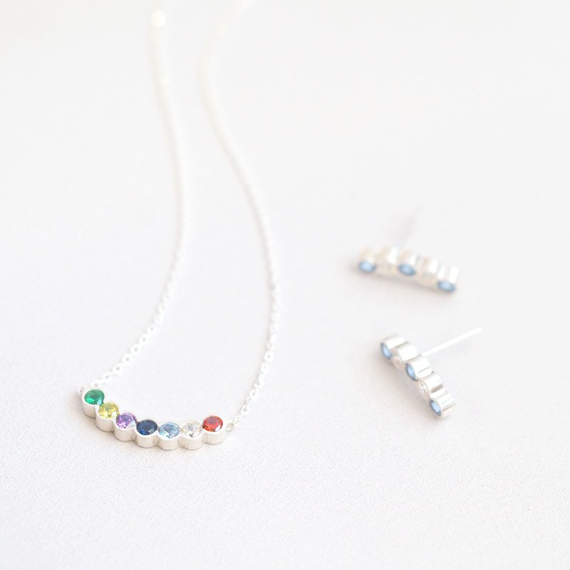 Candy color set Rainbow Arch Necklace Earring Set Silver 925