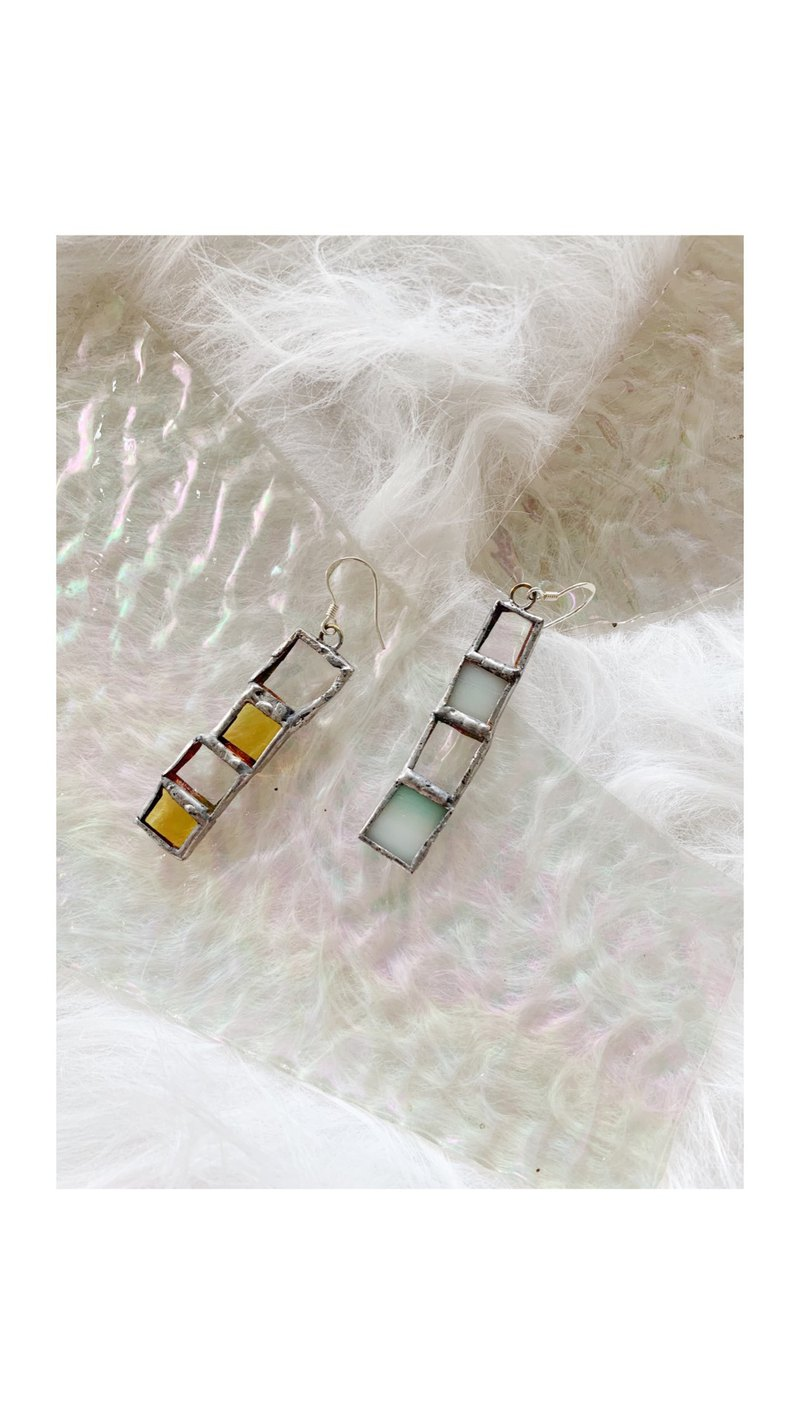 Iridescent mosaic glass asymmetric silver earrings earrings