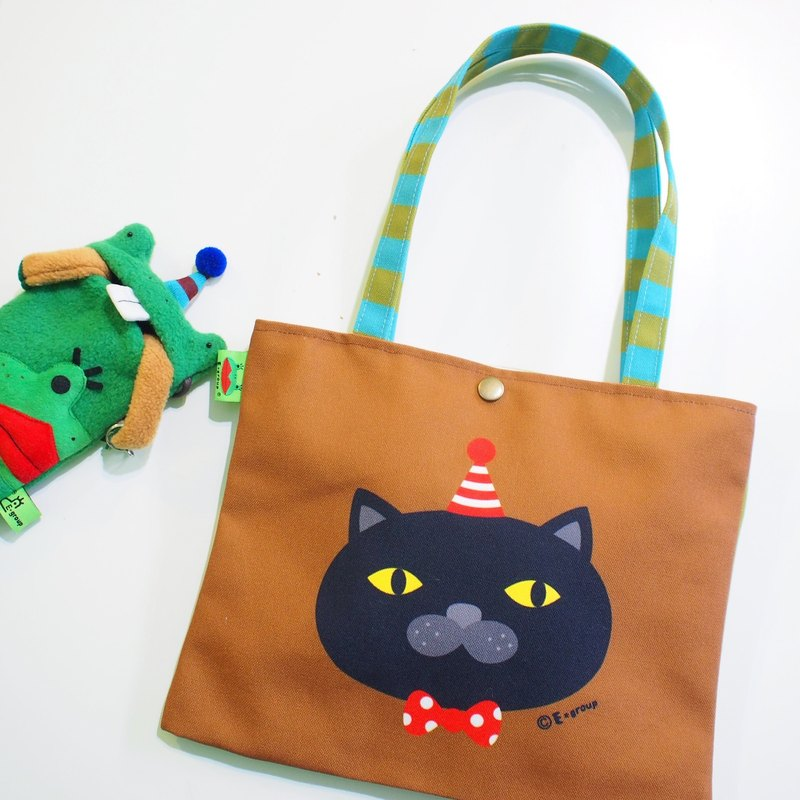 E * group Shoulder Bag Reversible Design Black Meow Chocolate Matcha Canvas Bag Tote Cat