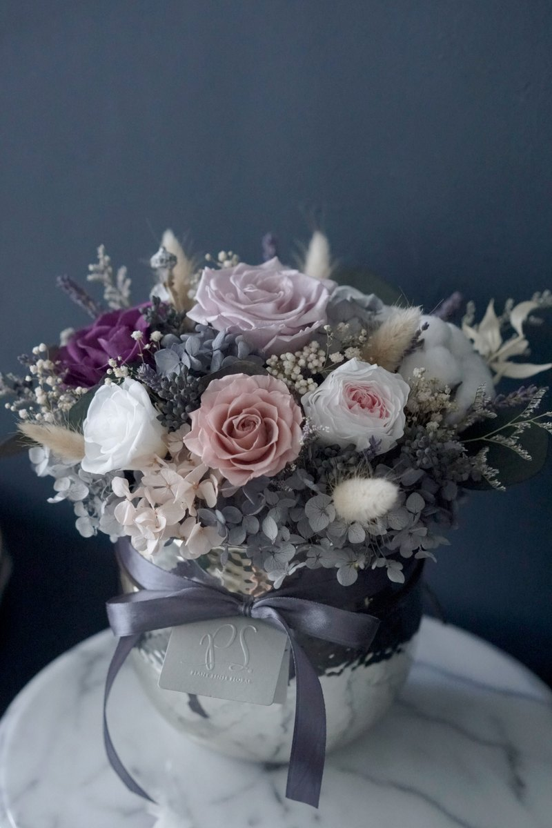 Flower Selection Violet Rose Garden Roses Immortal Flowers Not Withered Flowers Silver Round Porcelain Table Flowers