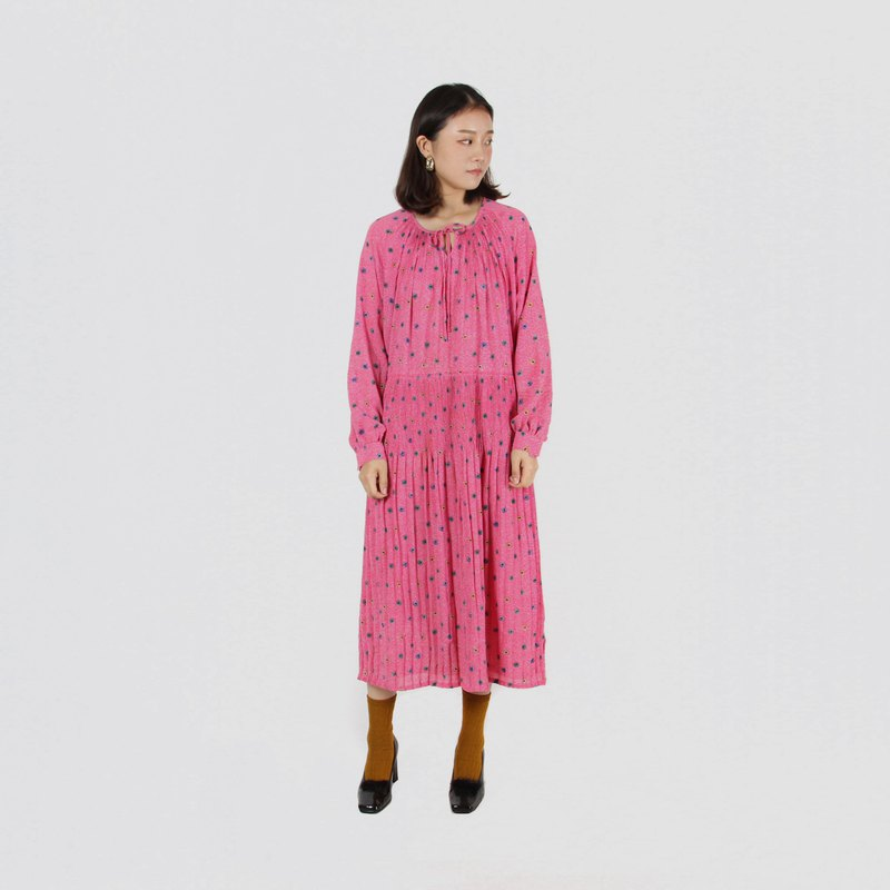 [Egg plant ancient] apricot peach print long-sleeved vintage dress