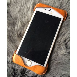 Handmade leather - hand-dyed Italian camel - leather mobile phone case (can be customized) can be used for the new Iphone 5/6 / 6plus or Samsung S5 / 6/7