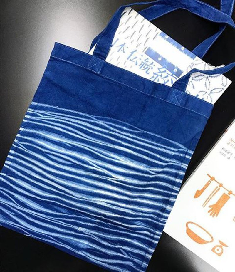 Indigo Hand-dyed Cotton Shopping Bag