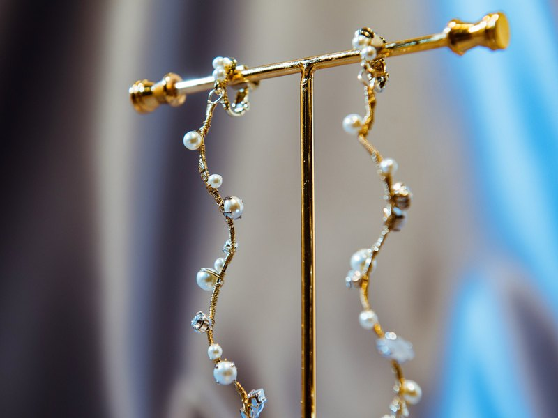 Hepburn's elegance-Swarovski pearl crystal earrings