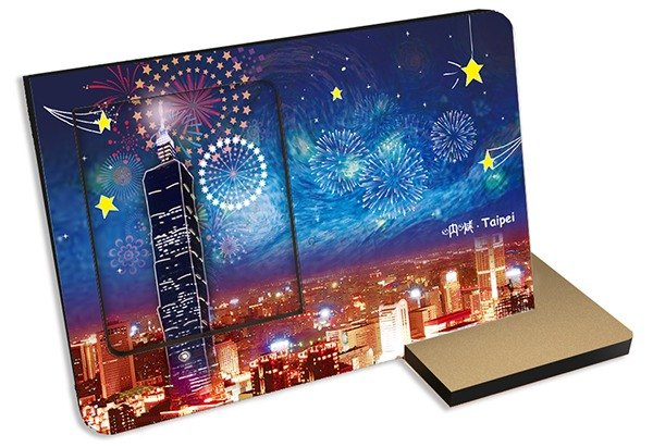 Taiwan screams Taipei sound and light card postcard picture frame Canon music fireworks sound sightseeing