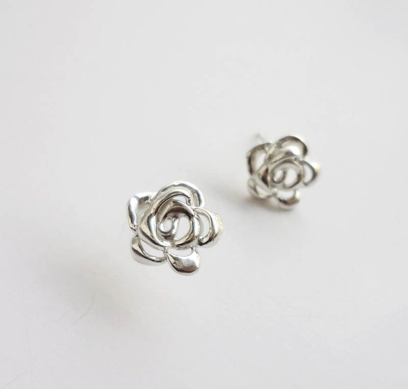 Gentle Rose simple style silver earrings - ear acupuncture