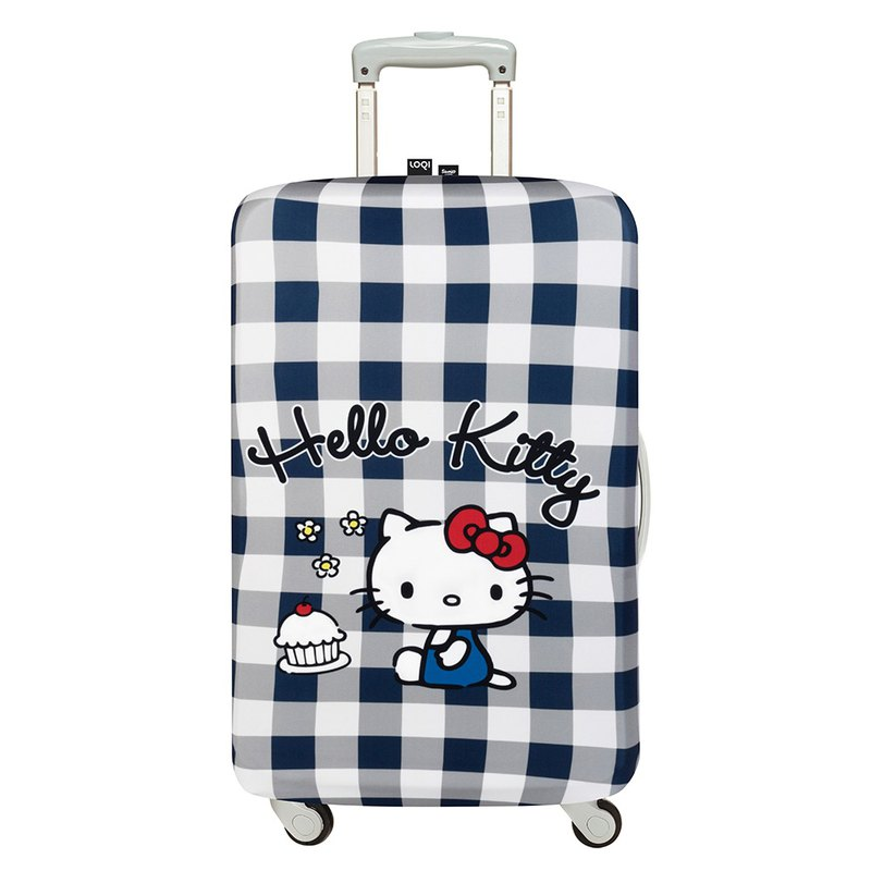 LOQI Luggage Jacket - Sanrio authorized HELLO KITTY blue and white plaid [L]
