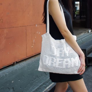 "Crochet Quote Tote Bag | ""Day Dream"" in Cool White"