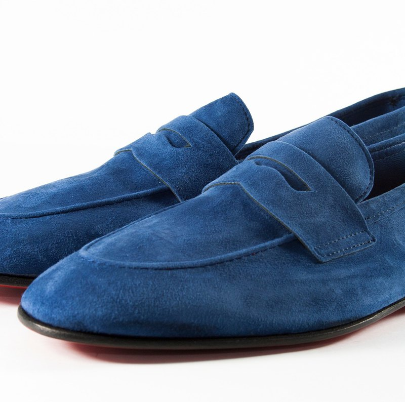 ITA BOTTEGA [Made in Italy] sapphire blue suede gentleman loafers
