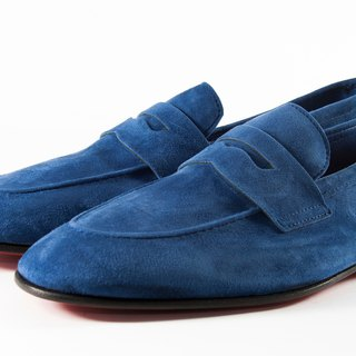 ITA BOTTEGA [Made in Italy] navy blue suede loafers shoes