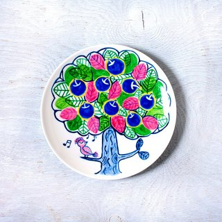 Blue apple tree and singing bird's plate