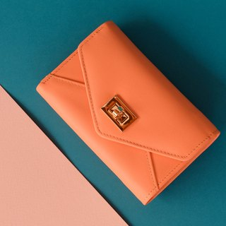 DAISY - LEATHER WOMEN SHORT PURSE/ WALLET - PINK ORANGE