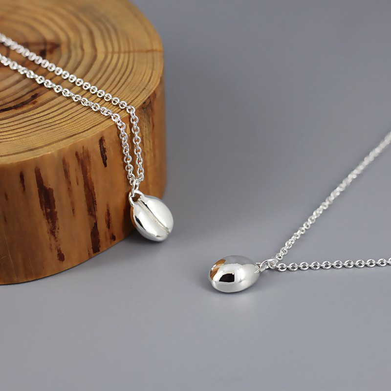 Sterling Silver Necklace - Smiling Coffee Beans
