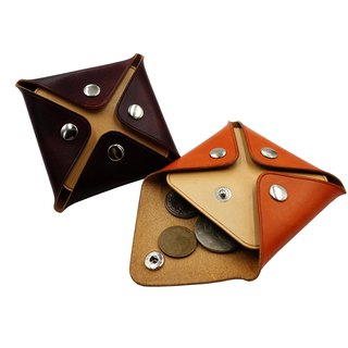 Square coin purse / hand dyed / customized / Italian vegetable tanned leather