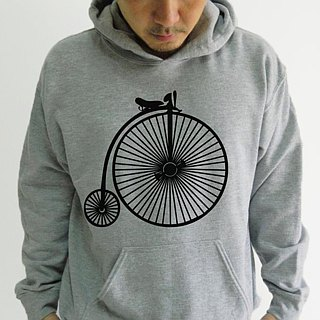 Vintage Bicycle-Unisex Hoodie,Old Bicycle,History Bike,Sport Grey,Sweatshirt