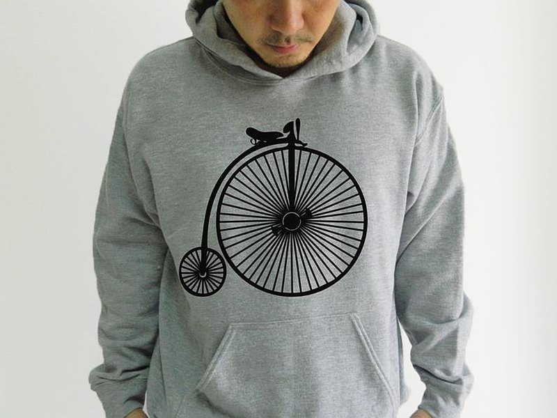 Classic Bicycle Logo Unisex Grey Hoodie, Bike Pattern Pattern Pullover  Gift