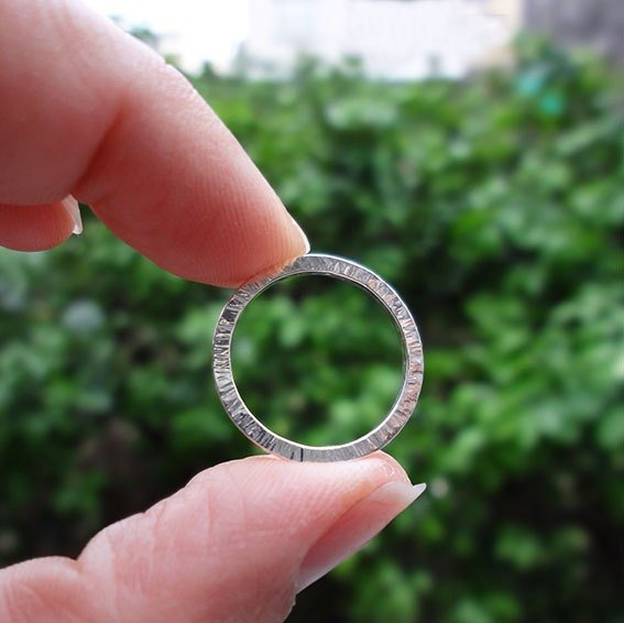 Sundial hand-forged silver ring
