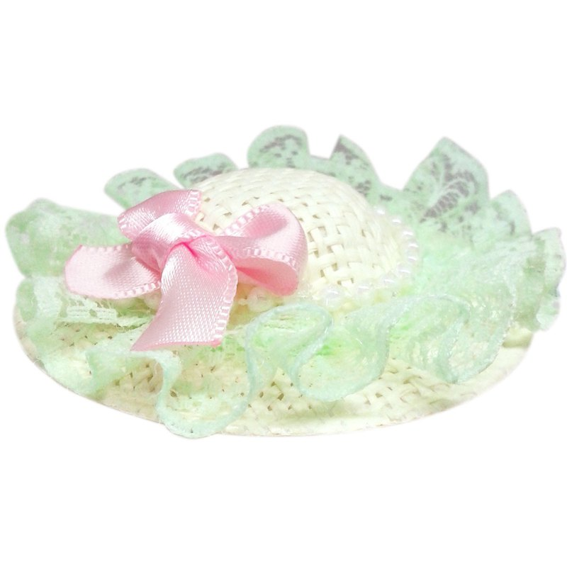 珍珠蕾絲蝴蝶結遮陽帽髮夾 全包布手工髮飾Sun Hat-Mint