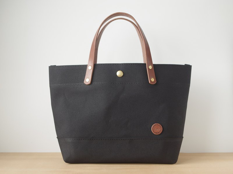 Leather Handle Canvas Tote Back Black