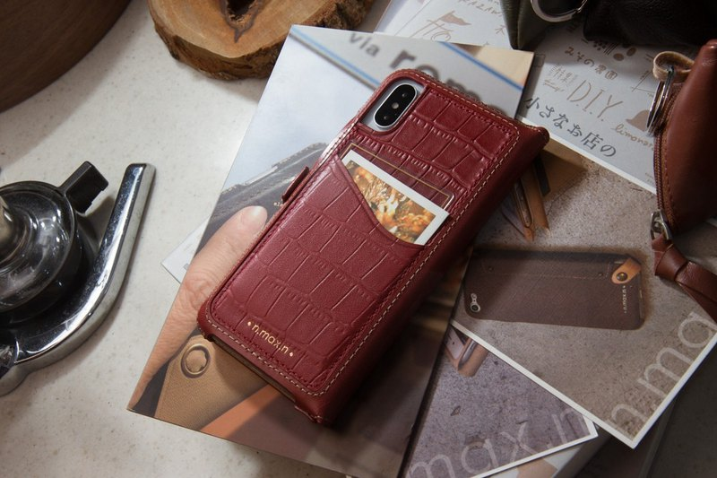 iPhone X / Xs Classic Series Handbags Mixed Leather Phone Case - Crimson