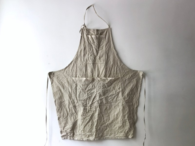 Beige cotton and linen long apron