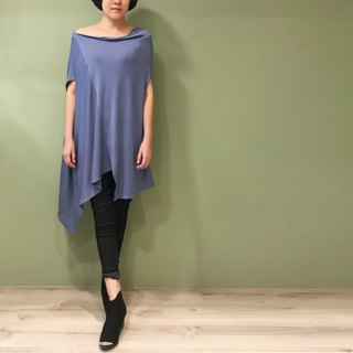 Top Square gusset top (can be changed by the collar/V neck drape/slant shoulder) - Blue