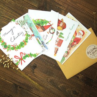 Christmas hand drawn wind postcard set