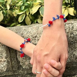 tatted rose bracelet (red-blue) / gift / Parent-child / Swarovski crystal pearl