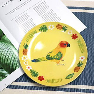 8-inch porcelain plate - tropical parrot / microwave / white porcelain / through the SGS / do not fade / personalized / cute