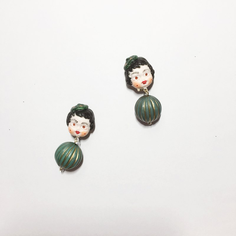 Retro doll cute clay ear clip earrings