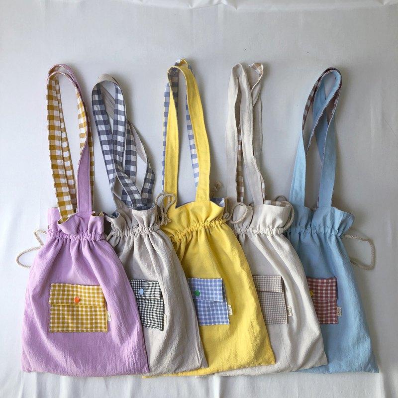 創造吧 ! 你的理想生活   雙面格紋抽繩側背包袋購物提袋