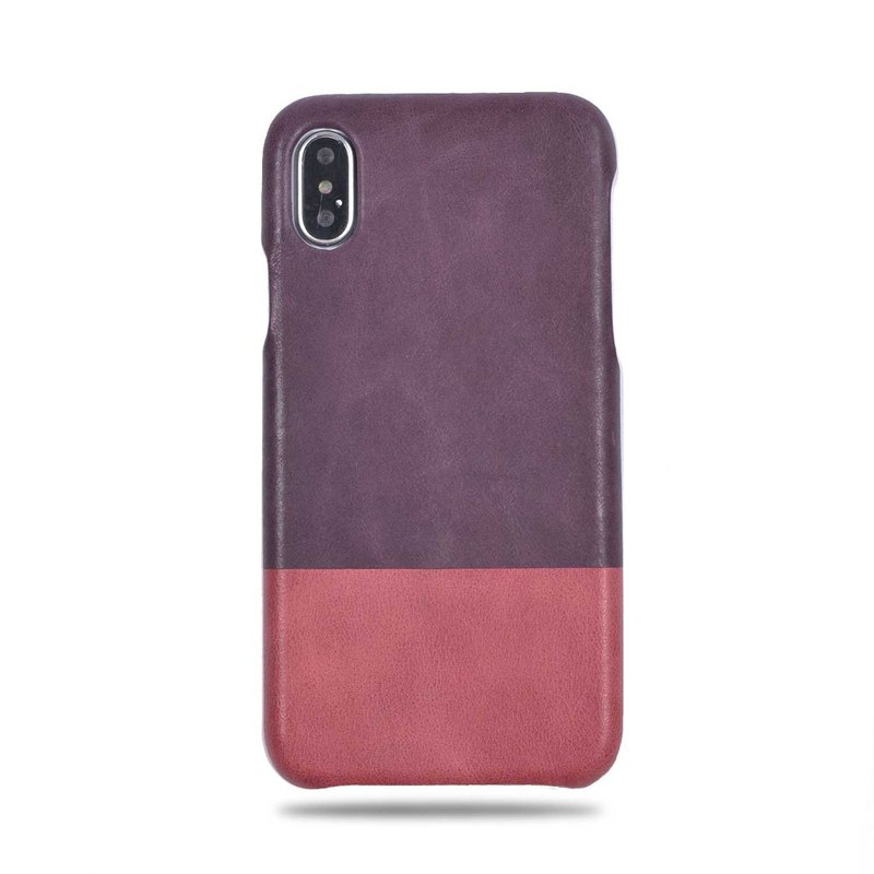 Customized 黛 purple with pink leather IPHONE XS/X phone case