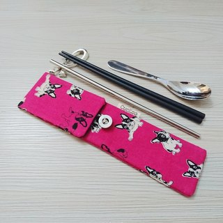 Green tableware storage bag chopsticks bag combination chopsticks special double chopsticks dog pink peach models