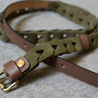 YOURS braided combination leather belt dark wood + green suede