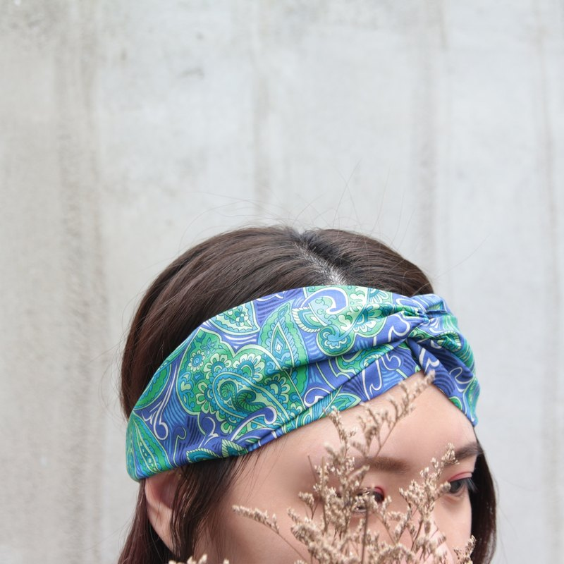 Promethas blue purple and grass green vintage amoeba handmade cross elastic hair band