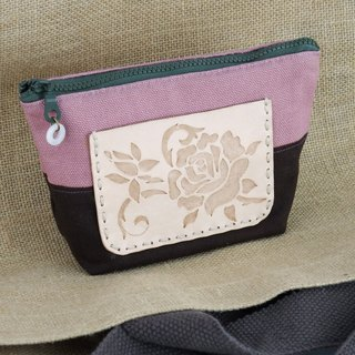 Leather wine bag cloth rose shadow carved small cosmetic bag