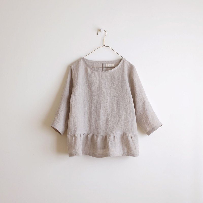 Daily hand-made clothes, air-sensing umbrella type blouse, seven-point sleeve, wrinkle blouse, linen, single