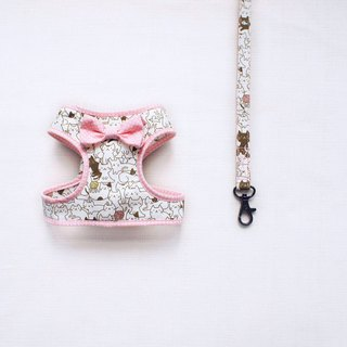 Can be customized. Cat love to play pink little walk combination 1< chest harness leash>