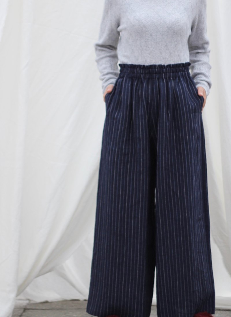 [Spot] original retro literary yarn-dyed linen wide-leg pants - dark blue stripes