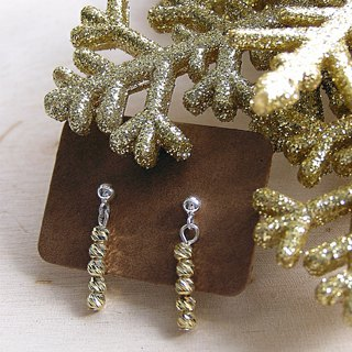 Shiny winter short night earrings in Sterling Silver - Designed and crafted by hand